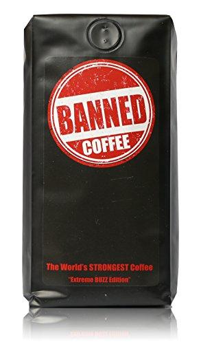 Banned Coffee Ground World's Strongest Coffee - Our Best Super Strong Medium Dark Roast Ground high caffeine Coffee, (1 lb). Worlds Premium Strong Hot or Cold Brew.