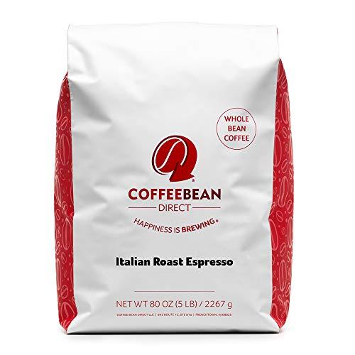 Coffee Bean Direct Italian Roast Espresso, Whole Bean Coffee, 5 Pound Bag