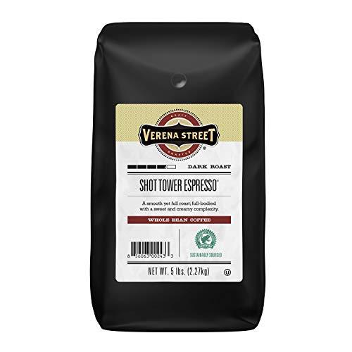 Verena Street 5 Pound Espresso Beans, Shot Tower Espresso Whole Bean, Rainforest Alliance Certified Arabica Coffee