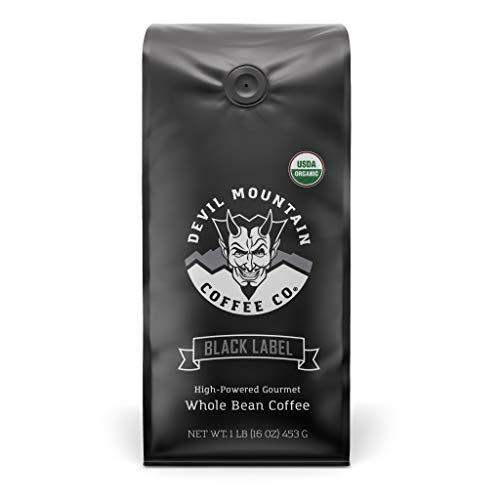 'Black Label' Dark Roast Whole Bean Coffee, The World's Strongest Coffee, Lab Tested at 1,555 ml Caffeine Per 12 Ounces, USDA Certified Organic (16 Oz)