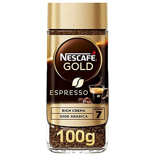 NESCAFE Gold Espresso 100% Arabica Aroma Intense Instant Coffee Beans Beverages for a Perfect Day Start Jar 100 gm