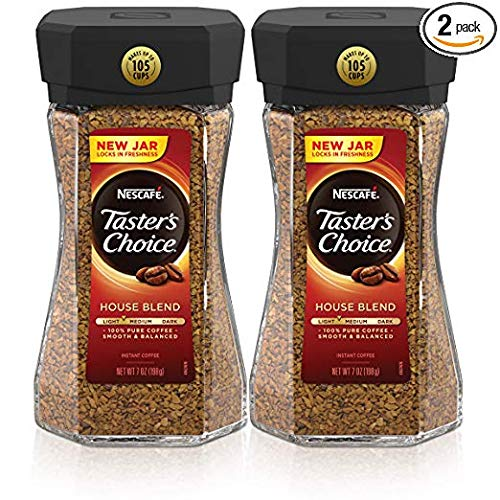 Nescafe Taster's Choice House Blend Instant Coffee, 7 Ounce (Pack of 2) (House Blend Mildly roasted, 2 jar)
