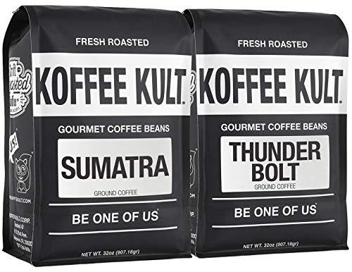 Koffee Kult Bring the Thunder Bundle, Includes Thunder Bolt And Sumatra Ground Coffee