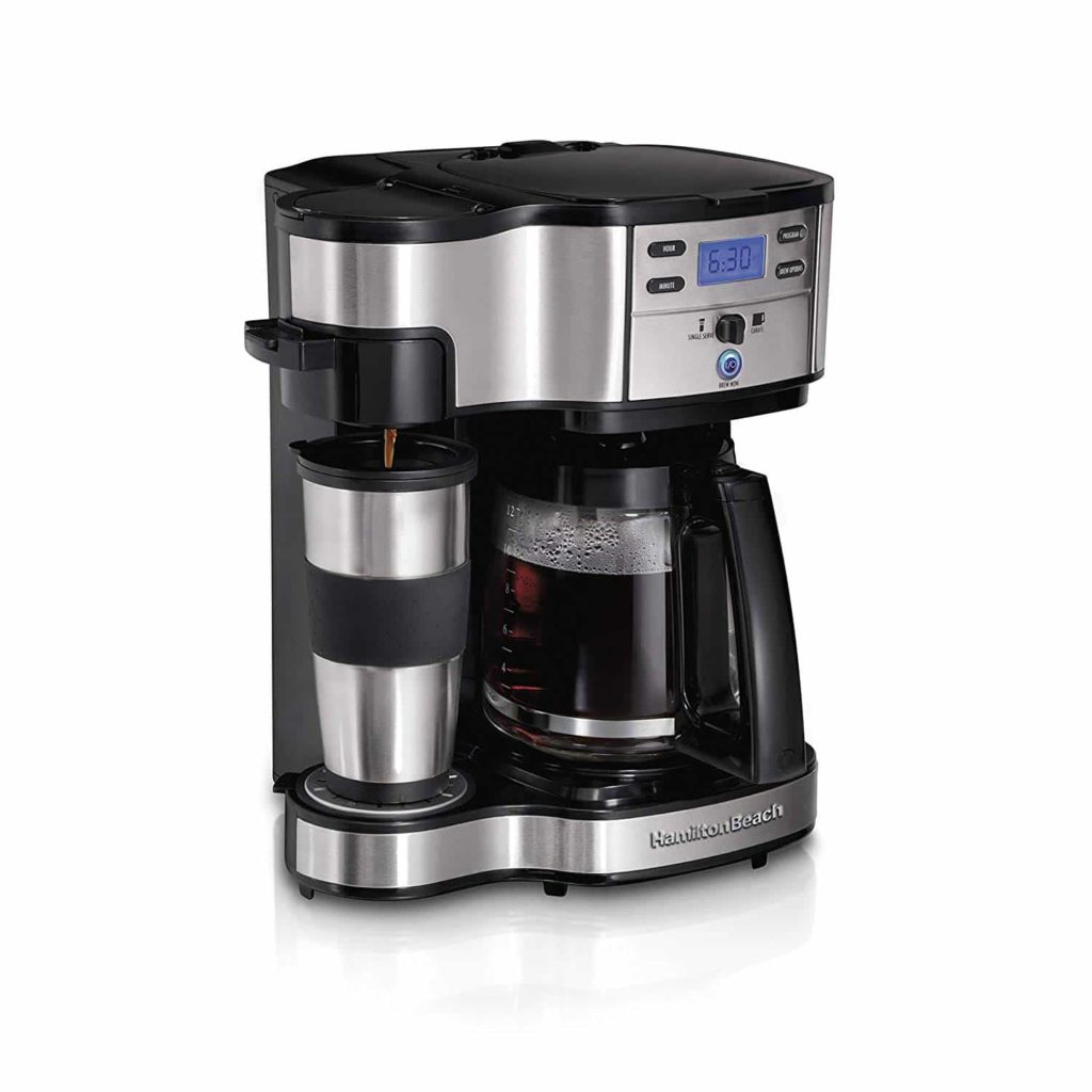 Hamilton Beach Coffee Maker, Single Serve, and Full Coffee Pot