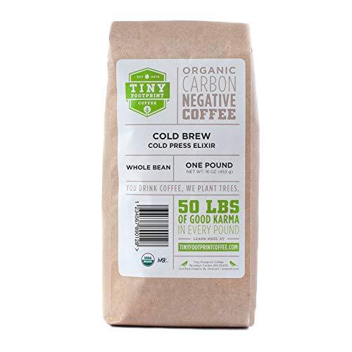 Tiny Footprint Coffee - Organic Cold Brew Cold Press Elixir | Whole Bean Coffee | USDA Organic | Carbon Negative | 16 Ounce