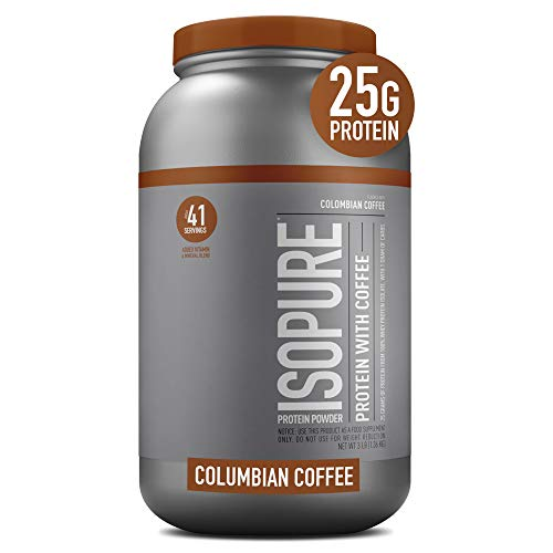 Isopure, with Vitamin C and Zinc for Immune Support 25g Protein Keto Friendly Protein Powder 100 Whey Protein Isolate Flavor Colombian Pounds Packaging May Vary, Coffee, 48 Ounce
