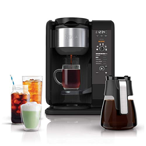 Ninja Hot and Cold Brewed System, Auto-iQ Tea and Coffee Maker with 6 Brew Sizes, 5 Brew Styles, Frother, Coffee & Tea Baskets with Glass Carafe (CP301) (Renewed)