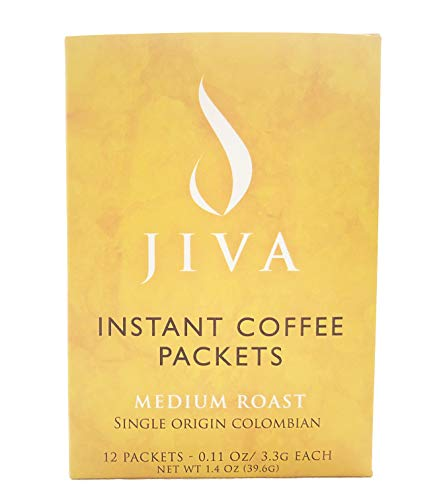 Jiva Instant Coffee - Single-Serving Packets, Medium Roast Colombian Arabica - Travel, Camping, Office (12 Sticks)