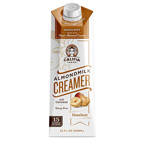 Califia Farms - Hazelnut Almond Milk Coffee Creamer with Coconut Cream, 32 Oz (Pack of 6) | Non Dairy | Plant Based | Vegan | Non-GMO | Shelf Stable