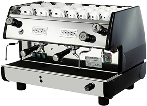 La Pavoni BAR-T 2V-B Commercial 2 Group 14L Boiler Volumetric Espresso Machine, Black Side Panels, Chrome Plated Solid Brass Groups, 2 Flexible Steam Jets, Hot Water Tap with Flexible Jet, 220-240V