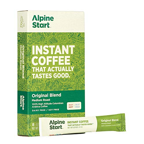 Alpine Start Premium Instant Coffee Packets, Medium Roast Original Blend, 8 Single Serve Packets, Keto